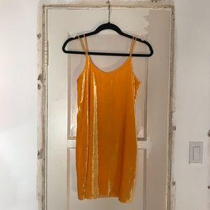 NWT Zara TRF Golden Yellow Velvet Mini Dress